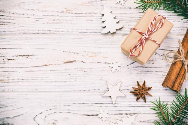 Fondo de navidad con espacio de copia, vista superior. concepto de vacaciones