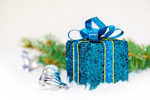 Fondo de navidad feliz año nuevo. enfoque selectivo