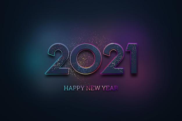 Fondo de navidad, inscripción 2021 y feliz año nuevo sobre un fondo oscuro.