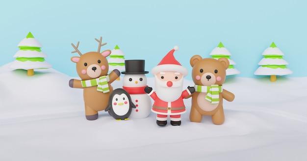 Fondo de navidad con papá noel y amigos de pie en la nieve. representación 3d