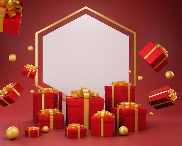 Fondo de navidad de vacaciones con una caja de regalo, ilustración 3d