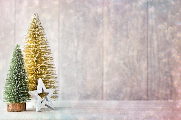 Fondo de navidad vintage con decoración navideña.