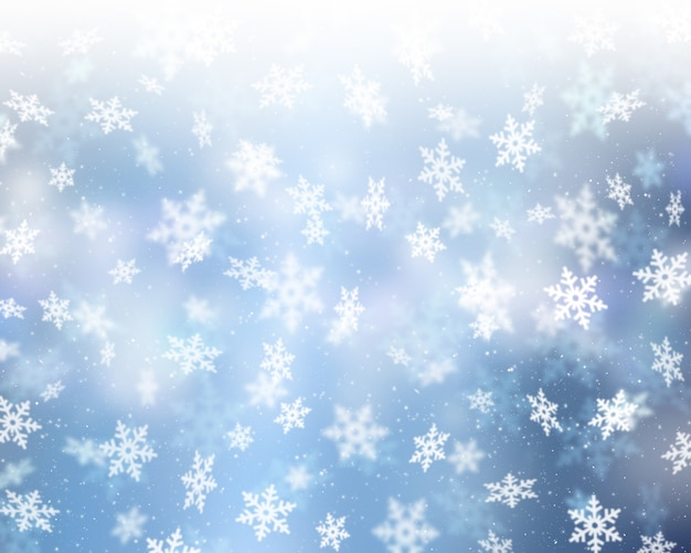 Fondo navideño de copos de nieve cayendo