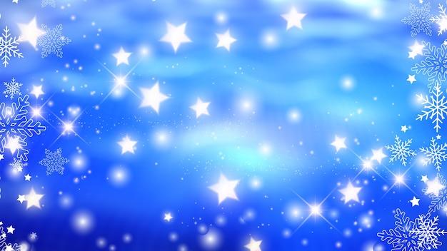 Fondo navideño con copos de nieve y diseños de estrellas brillantes.