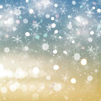 Fondo navideño de copos de nieve y estrellas.