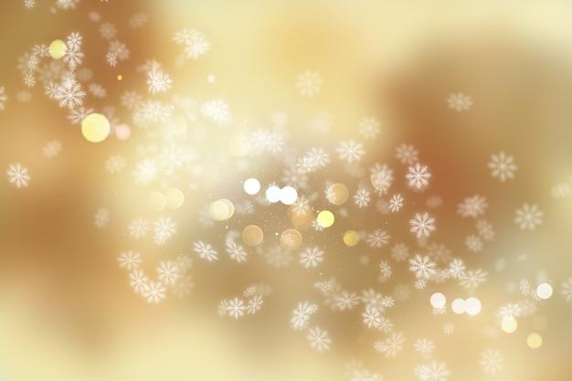 Fondo navideño de copos de nieve y luces bokeh