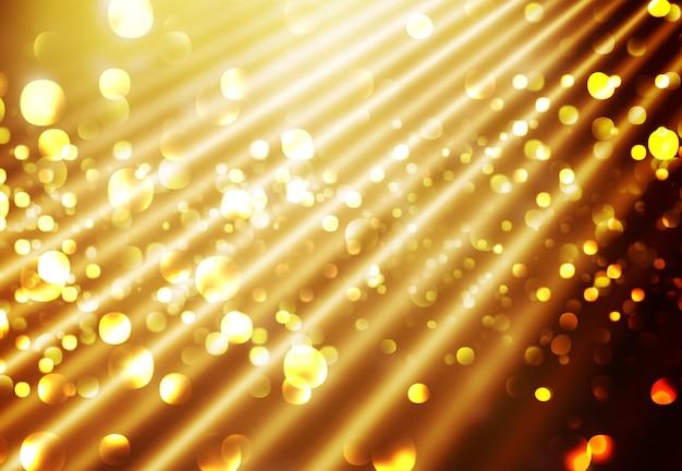 Fondo navideño con diseño de luces doradas.