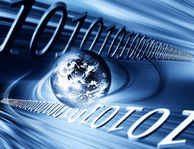 Fondo de negocio abstracto con el planeta y los números