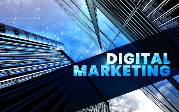 Fondo de negocio de marketing digital con banner de sitio web de gran ciudad