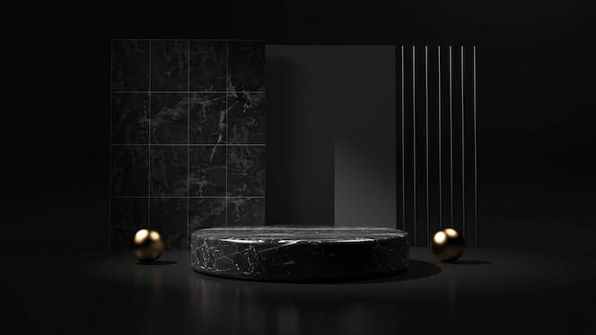 Fondo negro abstracto con podio de forma geométrica para el producto. representación 3d