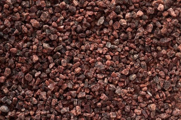 Fondo negro de sal india, vista superior