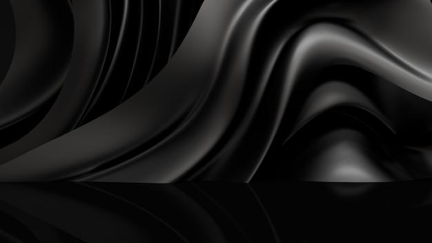 Fondo negro con tela de cortinas. representación 3d