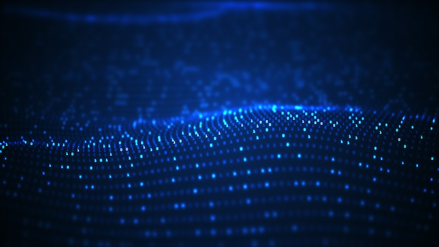 Fondo de onda de datos binarios de tecnología.