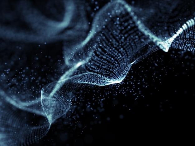 Fondo de onda digital moderno 3d con partículas que fluyen
