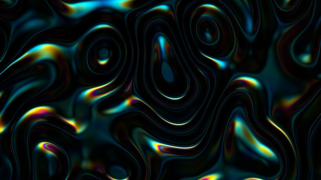 Fondo ondulado iridiscente abstracto 3d. superficie de reflexión de líquido vibrante. distorsión de fluido holográfico de neón