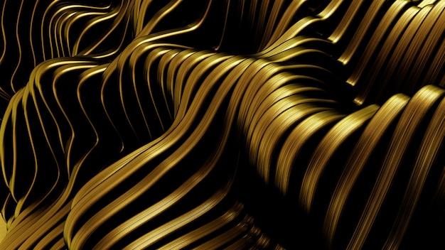 Fondo de oro con líneas. representación 3d