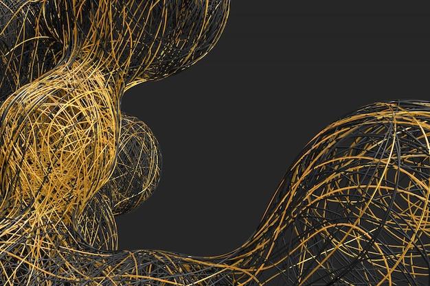 Fondo oscuro abstracto con la imagen de bolas divisorias tejidas a partir de una variedad de hilos de colores brillantes.