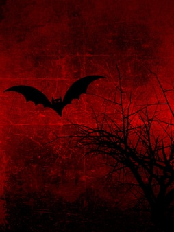 Fondo oscuro grunge con árbol fantasmagórico y murciélago