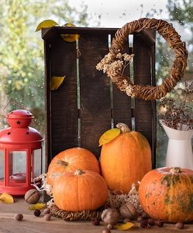 Fondo de otoño con calabazas, hojas amarillas, nueces, flores secas cerca de la ventana