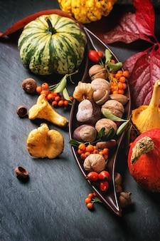 Fondo de otoño con calabazas