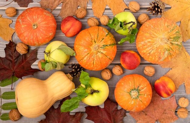 Fondo de otoño de hermosas calabazas maduras, frutas de temporada y hojas de otoño.