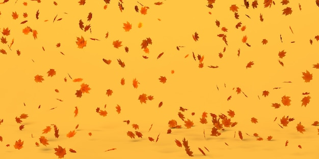 Fondo de otoño de hojas secas que caen. ilustración 3d. encabezamiento.