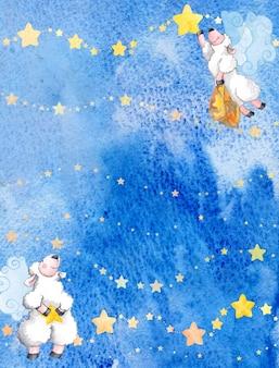 Fondo con ovejas de hadas con estrellas azul y amarillo acuarela
