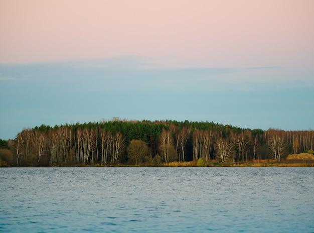 Fondo de paisaje de bosque de río de otoño