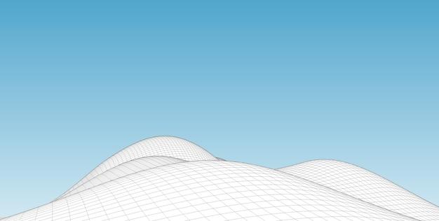 Fondo de paisaje de estructura metálica de terreno abstracto.