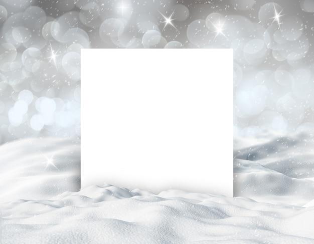 Fondo de paisaje nevado de invierno 3d con tarjeta blanca en blanco