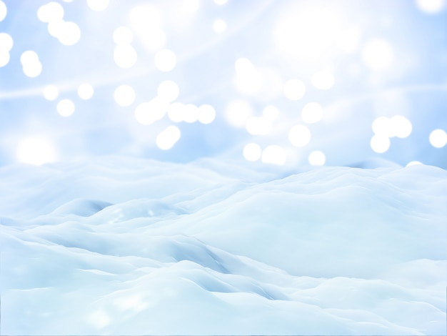 Fondo de paisaje de nieve de navidad 3d