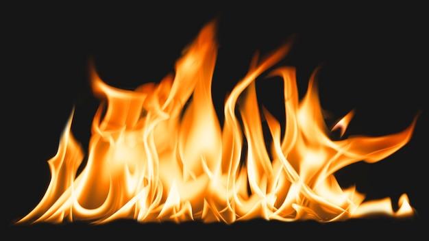 Fondo de pantalla de la computadora de la llama de la hoguera, imagen realista del fuego ardiente