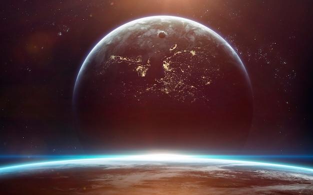 Fondo de pantalla del espacio de ciencia ficción, planetas increíblemente hermosos, galaxias, belleza oscura y fría del universo sin fin.