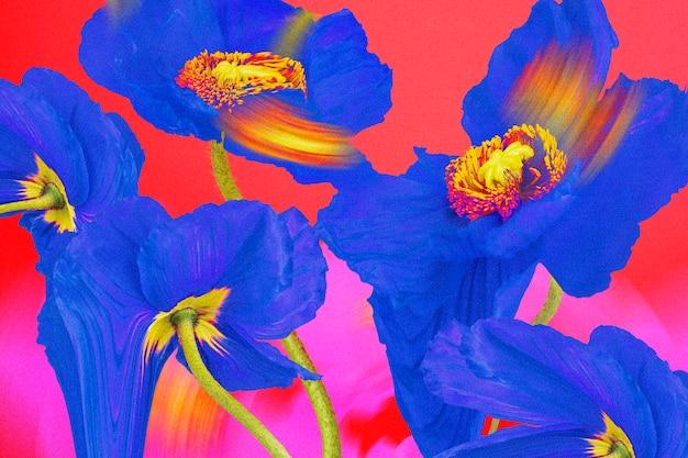 Fondo de pantalla de flores de colores, diseño estético trippy