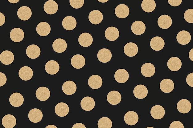 Fondo de pantalla de patrón brillante de lunares negros dorados