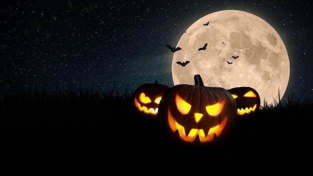 Fondo de pantalla de vacaciones de halloween con espacio libre para texto y diseño. . las calabazas brillan en un campo de hierba con una aterradora luna llena y murciélagos por la noche. feliz concepto de halloween