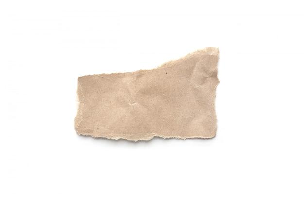 Fondo de papel rasgado de la vendimia. papel marrón rasgado en blanco.