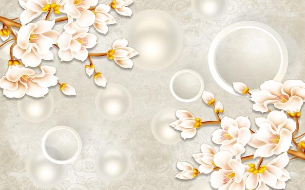 Fondo de papel tapiz de ilustración mural clásico 3d con flores círculos blancos decorativ simple