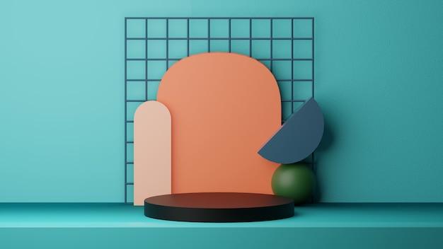 Fondo de papel tapiz de podio 3d con formas geométricas, imagen de alta calidad renderizada