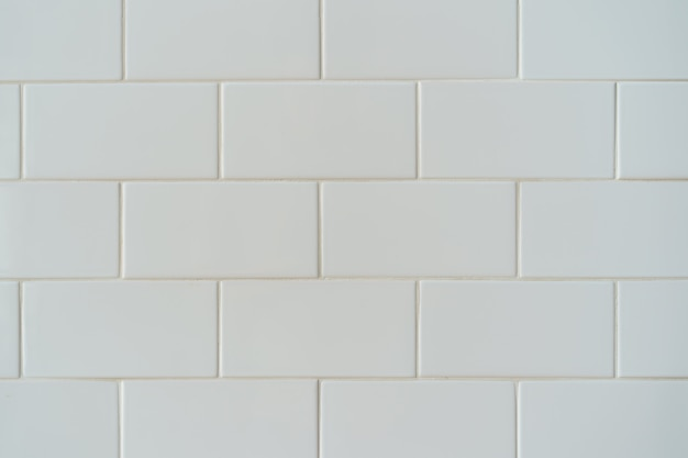 Fondo de pared de azulejo de ladrillo de cerámica blanca, patrón de pared.
