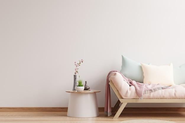Fondo de pared blanca clara vacía, hay una sala de estar con un sofá. representación 3d