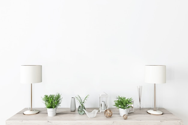 Fondo de pared blanca contra una decoración clásica