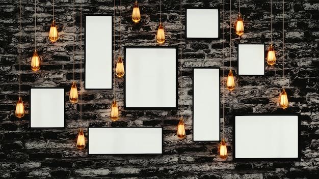 Fondo de pared de ladrillo grunge decorado con marcos de fotos en blanco