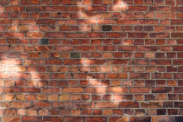 Fondo de pared de ladrillo o textura con manchas de luz del día.