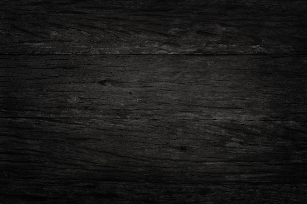 Fondo de pared de madera negra, textura de madera de corteza oscura con el viejo patrón natural para el trabajo de arte de diseño, vista superior de madera de grano.
