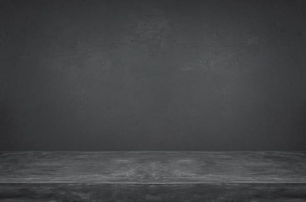 Fondo de pared y mesa de cemento oscuro vacío grunge