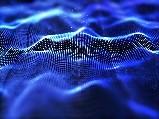 Fondo de partículas abstractas 3d con poca profundidad de campo