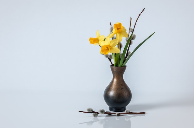 Fondo de pascua fondo de primavera con narcisos amarillos y ramas de sauce en el florero.