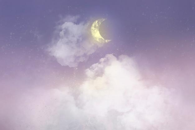 Fondo pastel con luna creciente blanca