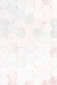 Fondo de patrón de azulejos de mármol rosa hexagonal